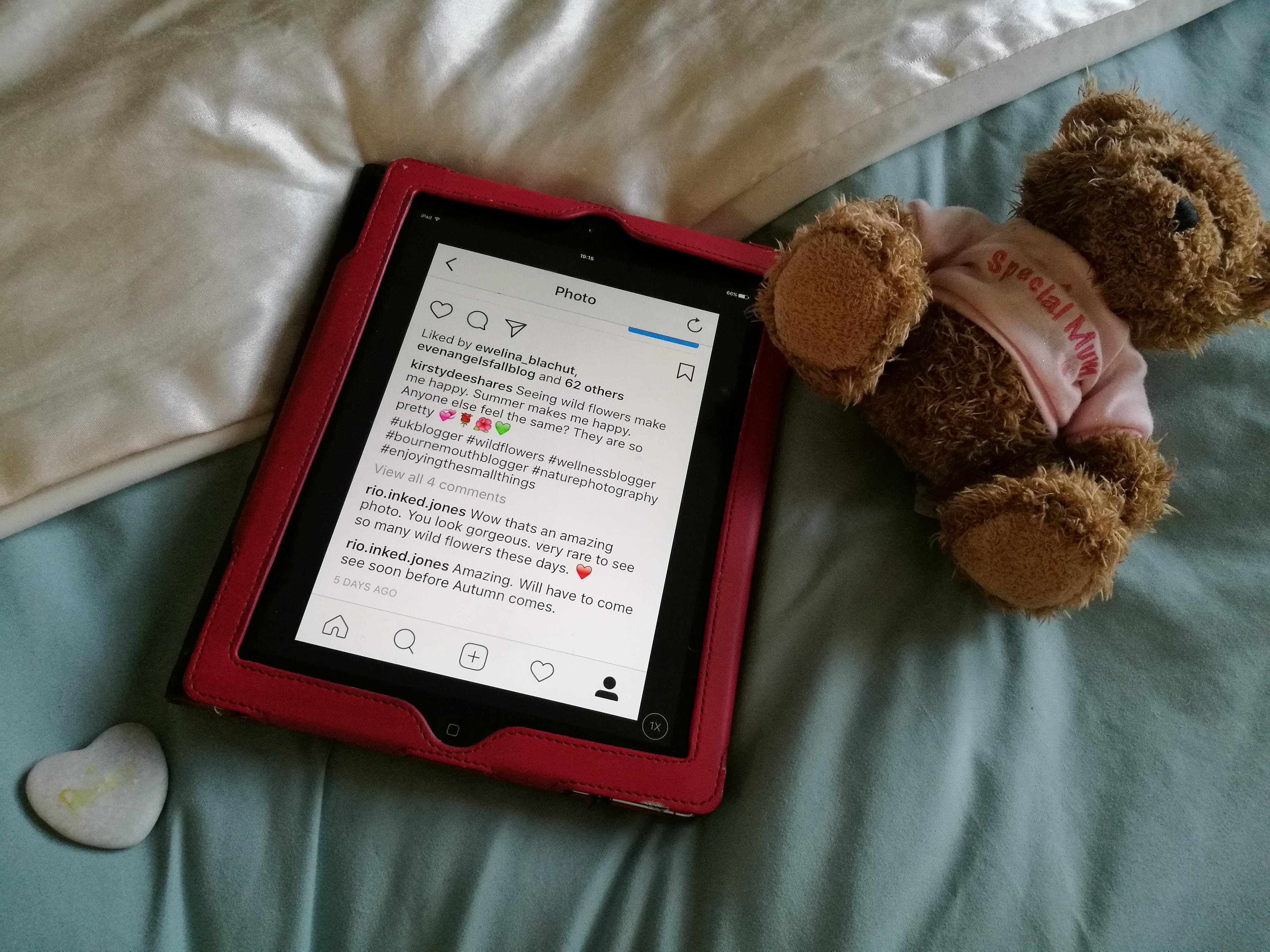 Instagram feed on tablet
